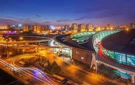 Preview wallpaper City at night, lights, Beijing South Railway Station, China