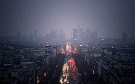 Cidade, noite, rua, nevoeiro, luzes