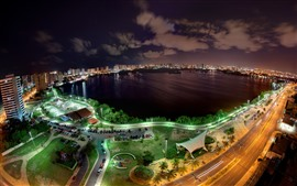 Preview wallpaper City night, top view, cars, roads, bay, lake, lights