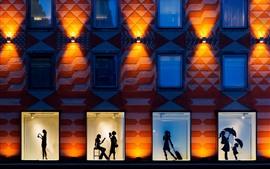 Городская ночь, стена, окно, силуэт, девушки