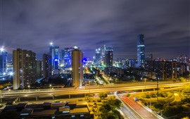Cityscape, Guangzhou, skyscrapers, night, lights, roads