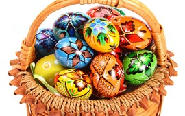 Preview wallpaper Colorful Easter eggs, basket, white background