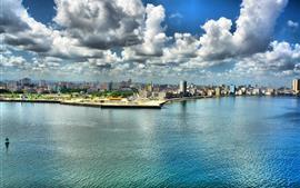 Cuba, la Habana, ciudad, mar, nubes, rascacielos