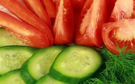 Preview wallpaper Cucumber and tomato slices