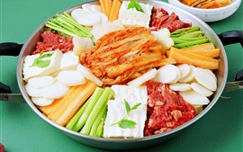 Preview wallpaper Cutted slice of vegetable and meat