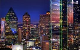 Preview wallpaper Dallas, city at night, skyscrapers