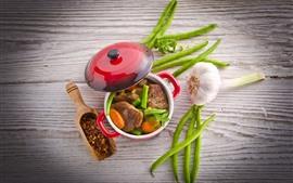 预览壁纸 美味的一餐,肉,豆,大蒜