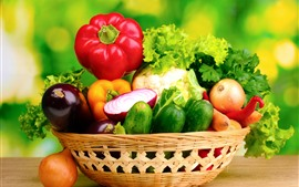 Preview wallpaper Different kinds of vegetables, basket