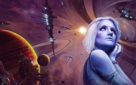 Preview wallpaper Fantasy girl, planets, spaceship, space, art picture