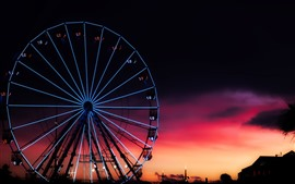 Roda gigante, noite, cidade, Inglaterra