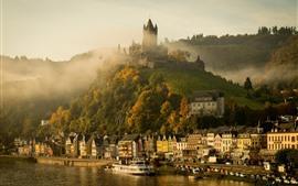 Alemania, cochem, castillo, río, casas, montaña, niebla