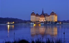 Preview wallpaper Germany, Saxony, Moritzburg Castle, night, lake, lights