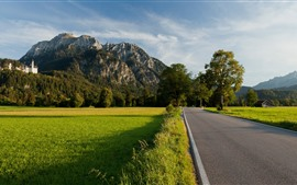 Preview wallpaper Germany, road, mountains, trees, green field, castle