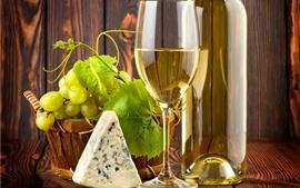 Aperçu fond d'écran Raisins verts, vin, fromage, tasse et bouteille en verre
