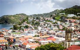 Гренада, город, дома, горы, море