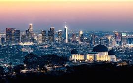 Observatório Griffith, Los Angeles, cidade, noite, luzes, EUA