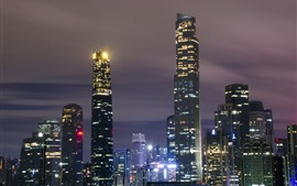 Guangzhou, skyscrapers, lights, city, China