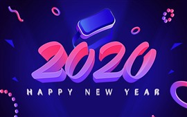 Happy New Year 2020, художественная картина, креатив