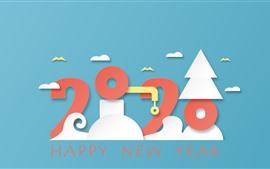 Feliz año nuevo 2020, pájaros, árboles, imagen creativa