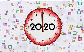 Preview wallpaper Happy New Year 2020, clock, colorful background