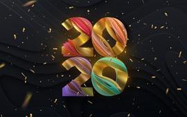 Feliz año nuevo 2020, colorido, creativo