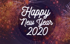Preview wallpaper Happy New Year 2020, fireworks background