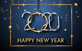 Preview wallpaper Happy New Year 2020, stars, golden