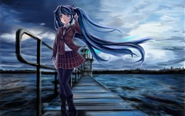 Preview wallpaper Hatsune Miku, blue hair anime girl, pier, river, night