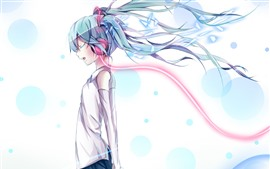 Preview wallpaper Hatsune Miku, girl, hair flying, anime