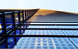 高層ビル、窓、ガラス、太陽の光