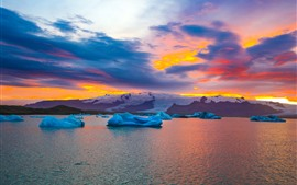Preview wallpaper Iceland in autumn, ice, sea, snow, sunset