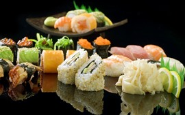Preview wallpaper Japanese food, sushi, meat