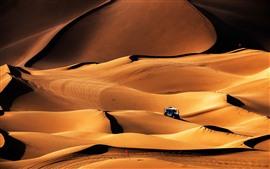 Aperçu fond d'écran Désert de Kumtag, dune, voiture, Xinjiang