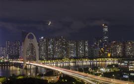 Liede Bridge, Гуанчжоу, небоскребы, огни, река, ночь, Китай