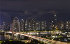 Preview wallpaper Liede Bridge, Guangzhou, skyscrapers, lights, river, night, China