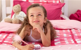 Preview wallpaper Little girl, child, bed, happy, thinking