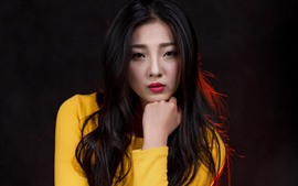 Preview wallpaper Long hair girl, look, red lip