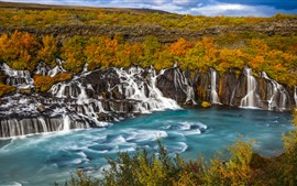 Preview wallpaper Many waterfalls, Iceland, beautiful nature landscape