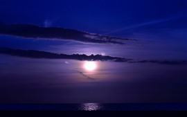 Preview wallpaper Moon, clouds, sea, night