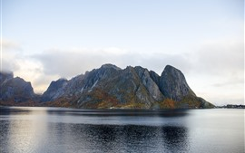 Preview wallpaper Mountains, bay, Norway, nature landscape