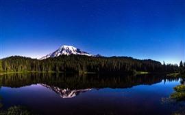 Montanhas, floresta, estrelado, lago