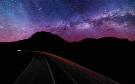 Mountains, starry, night, roads