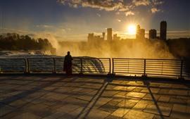 Preview wallpaper Niagara Falls, morning, fog, sunrise, city, USA