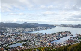 Norway, city, top view, sea