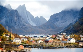 Preview wallpaper Norway, mountains, clouds, houses, village, coast