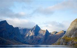 Noruega, montañas, niebla, nubes, mar