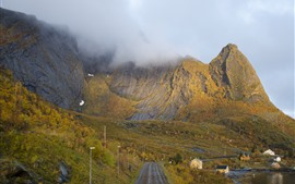 Preview wallpaper Norway, mountains, fog, road, village