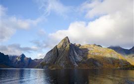 Noruega, montanhas, mar, natureza paisagem