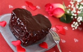 Preview wallpaper One slice of chocolate cake, love hearts