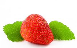 One strawberry macro photography, green leaves, white background